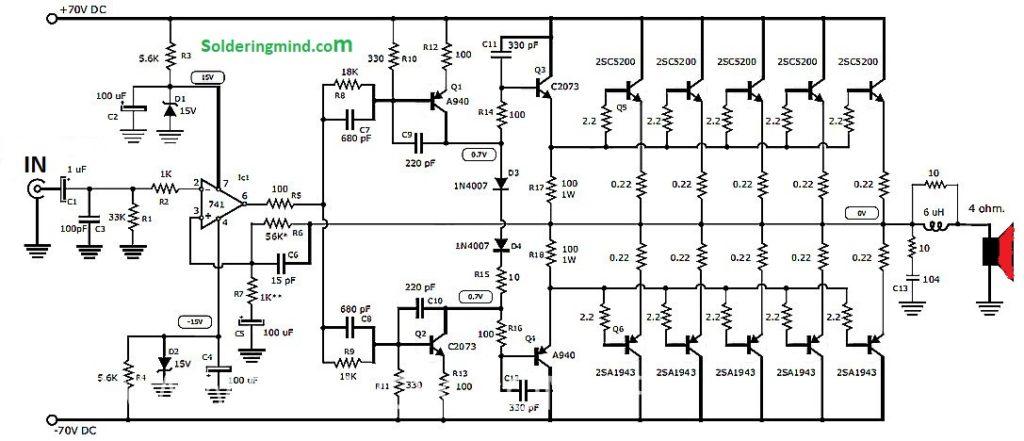 1000 watts audio amplifier circuit - amplifier circuits - soldering mind  soldering mind
