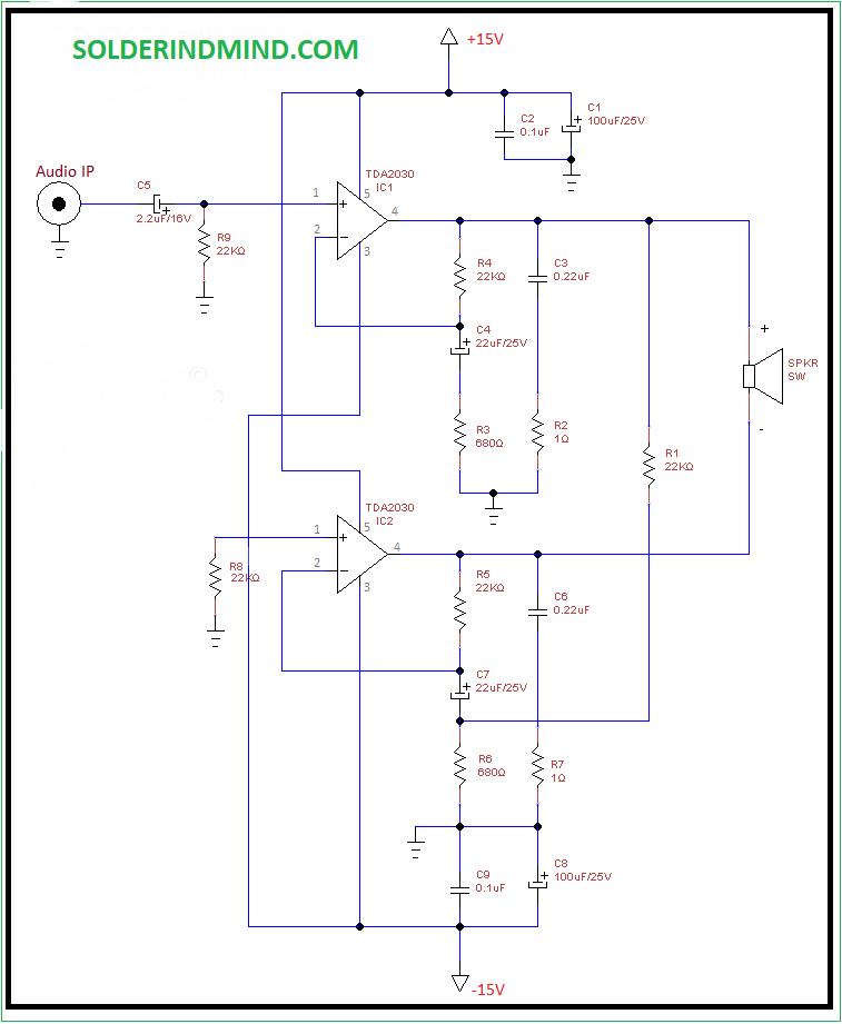 TDA2030 Bridged Subwoofer amplifier circuit - Amplifier ...