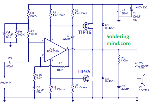 Amplifier Circuit - 50 Watts Amplifier Using TDA2030 - Soldering MindSoldering Mind