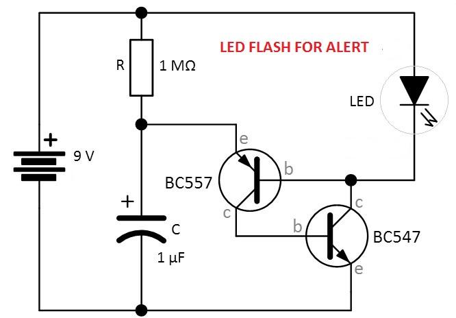 led flash for alerts - led blinking using transistor bc547