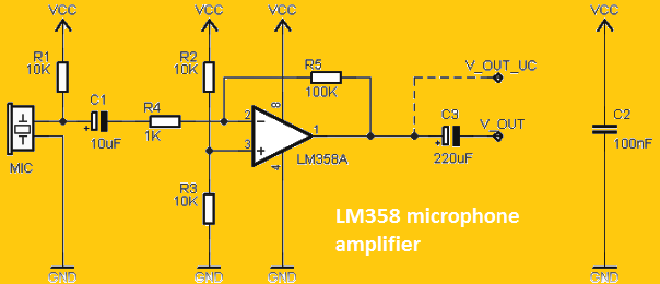 LM358 microphone amplifier circuit - Soldering Mind