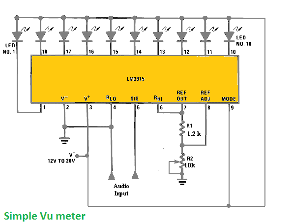 Simple vu meter - LM3915 vu meter circuit diagram ... on generator schematic, compressor schematic, ph meter schematic, oscilloscope schematic, tone control schematic, transistor tester schematic, mixer schematic, multimeter schematic, voltmeter schematic, sensor schematic, lc meter schematic, capacitance meter schematic, amplifier schematic, analog meter schematic, lcd schematic, distortion schematic, lm3915 schematic, variac schematic, led schematic, current transformer schematic,