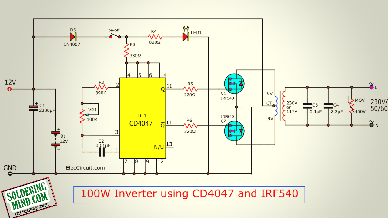 Cd4047be Inverter Circuit - 12v To 220v 100 Watts Inverter