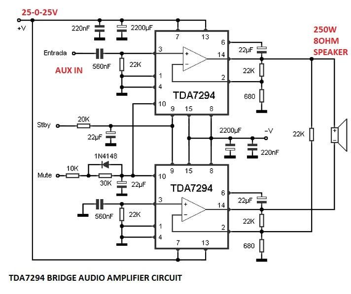 Bridge Amplifier Using Tda7294 I