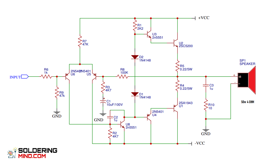 2SC5200 Amplifier Circuit Diagram and PCB Layout - Soldering MindSoldering Mind