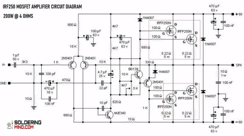 IRF250 Mosfet Amplifier Circuit Diagram - Soldering MindSoldering Mind